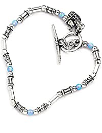 Jahamota Women's Sterling Silver Heart Bracelet Hand Made x3OF2SUrK