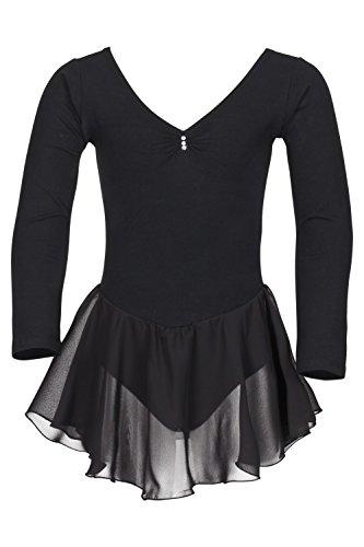 tanzmuster Kinder Langarm Ballettkleid Anna aus Baumwolle mit Chiffon Röckchen. Süßer Ballettanzug/Ballett Trikot mit Strasssteinchen in schwarz, ()