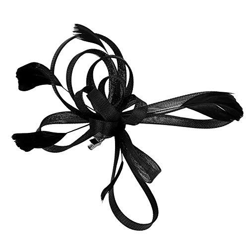LONTG Fascinator elegant mit Federn Haarschmuck hut vintage modisch für Weihnachten Halloween Braut Kostüm Karneval Fasching Royal Ascot Schleier Mädchen Frauen Damen Headwear Mini aus Mesh (Creme Tanz Kostüm)