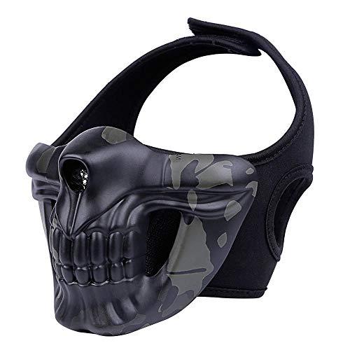 WLXW Metall Outdoor Taktische Maske, Airsoft Schießen Gesichtsschutz Ausrüstung, Halbmaske Skelett Maske, Paintball Jagd CS Krieg Maskerade Kostüm Halloween,BCP - Krieg Maske Für Erwachsene