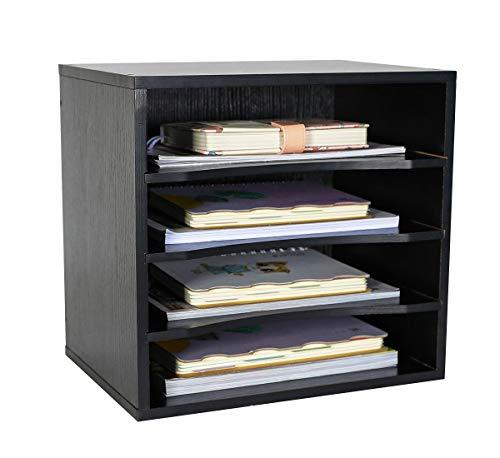 PAG Office Supplies Holz Schreibtisch Organizer Desktop-Datei Mail Sortiermaschine mit 3verstellbaren Schublade Boards Schwarz -