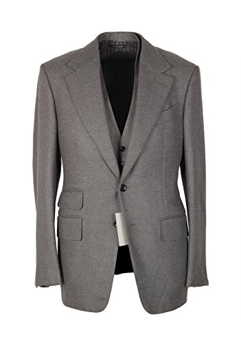 CL - TOM FORD Shelton Brownish Gray Solid 3 Piece Suit Size 46 / 36R U.S. Wool