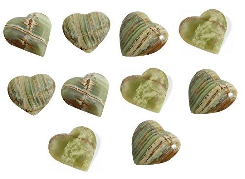 Onyx-Marmor Herz Taschenstein, 10 Stück, 2,5 cm / Handschmeichler Trommelstein im Samtbeutel