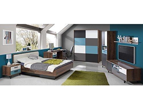 Jugendzimmer Raven Komplett verschiedene Ausführungen Kinderzimmer Möbel (Zimmer Raven 7 tlg 120er Bett, Schwebetürenschrank)