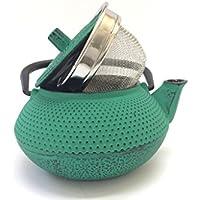 Tetera de hierro colado con filtro - capacidad 0.3 litros y color verde - teteras para vitroceramica, inducción y gas – tetera de metal pequeña tamaño individual para infusión y té