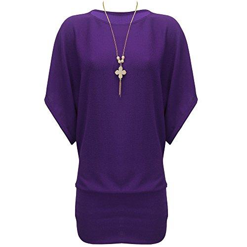 Femmes BAGGY Mesdames Long Collier en tricot pull chauve-souris Jersey robe tunique Violet