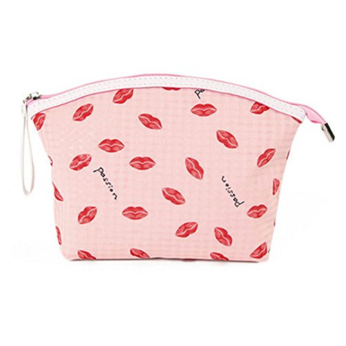 Portable Maquillage Voyage Cosmetic Bag Pouches Lip Prints,Rose