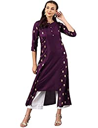 Janasya Women's Purple Poly Silk A-Line Foil Print Kurta