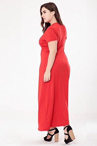 YiJee Donna Tinta Unita Elegante Cocktail Lungo Vestito V Collo Manica Corta Maxi Abiti Rosso