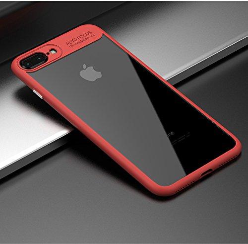 Luxuriöse Handyhülle für iPhone 7 und 7 Plus, weiche Silikon-Umrandung mit transparenter, harter Polycarbonat-Schutzhülle, ultradünn