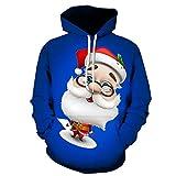 Hoodie Herren Langarm, Holeider Pullover Herren Winter Kapuzenpullover Weihnachtsdruck Weihnachtspullover Lässig Sweatshirts Kapuzenpulli Kapuzenjacke,