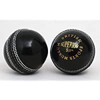 British Sports Museum Impresionante Color Negro 5 1/2oz Cuero Pelota Cricket