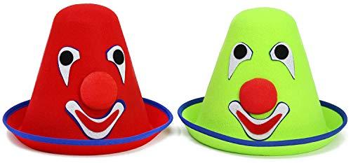 com-four® 2 Clownshüte mit lustigem Gesicht in verschiedenen Farben (02 Stück - ()