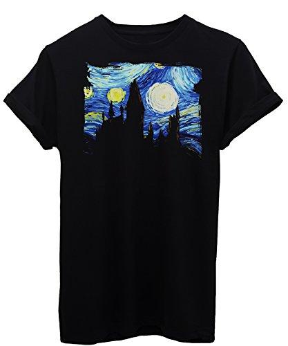 iMage T-Shirt Harry Potter Hogwarts Van Gogh - Kino Herren-S - Schwarz