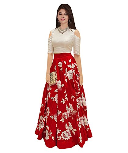 Nine Street Store Women's Silk Dress Material (dsk lehengas_Red_Free Size)