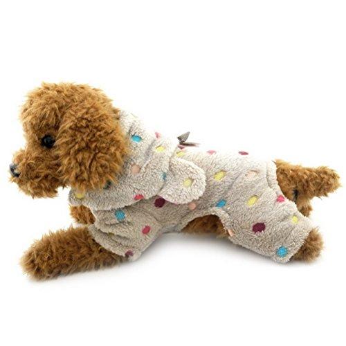 (zunea Bunte Punkte kleine Hunde Schlafanzüge Weich Warm Puppy Jumpsuit mit Kapuze Samt Cozy Pet Katze Hund Winter Kleidung Kostüm)