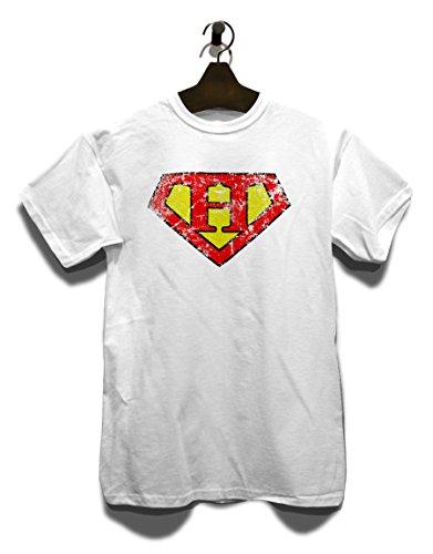 H Buchstabe Logo Vintage T-Shirt Weiß