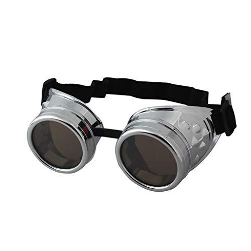 iCerber UV400 Cosplay Damen Herren Vintage Cosplay Steampunk Goggles Glasses Retro Runde Linse Schweißende Punk Gläser Sonnenbrille