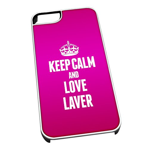 Duke Gifts Bianco Cover per iPhone 5/5S 1215 Pink Keep Calm And Love Lav