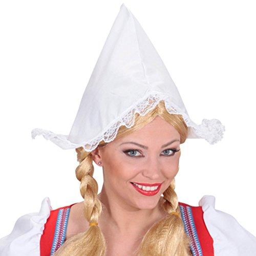 Amakando Hollandhaube Frau Antje Haube weiß Holland Faschingshut Holländerin Hut Karneval Hüte Häubchen - Holland Kostüm