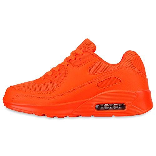 Knallige Damen Herren Unisex Sportschuhe | Auffällige Neon-Sneakers | Sportlicher Eyecatcher für Ihren Alltags-Look | Angenehmer Tragekomfort | Gr. 36-45 Neonorange