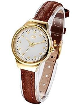 George Smith Damen 28mm Einzigartige Weißes Zifferblatt Armbanduhr mit Dünnem Echtem Lederarmband