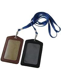Sourcingmap Support en imitation cuir pour Carte d'identité ou Badge professionnel Black/Brown