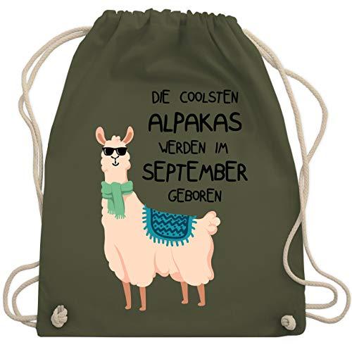 Geburtstag - Die coolsten Alpakas werden im September geboren Sonnenbrille - Unisize - Olivgrün - WM110 - Turnbeutel & Gym Bag