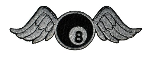 """8 Balls & Wings"" Patch Sticker Logo Applique Insigne à coudre Rocker Biker 4,1 cm / 12,0 cm"