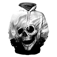 Byste Autumn Winter 3D Printed Skull Pullover Long Thick Sleeve Hooded Sweatshirt Tops Blouse, Unisex Lovers T -Shirts (Black, M)