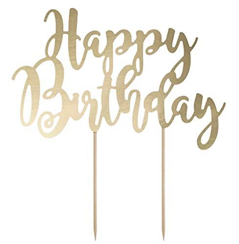 Libetui Cake Topper Happy Birthday Kuchendeko Dekoration für Geburtstagskuchen Geburtstag (Gold)