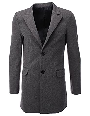 FLATSEVEN Mens Designer Peaked Lapel Long Blazer Jacket (BJ108) Grey,