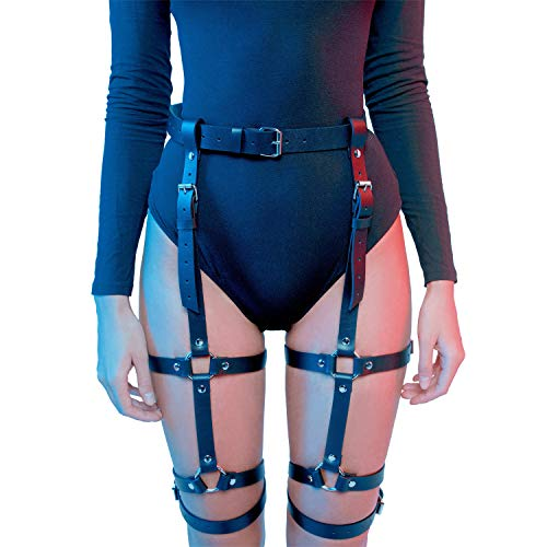 Homelex Sexy Punk Leder Taille Bein Caged Harness Gothic Strumpfband Für Damen, Durchschnittliche Größe, ()