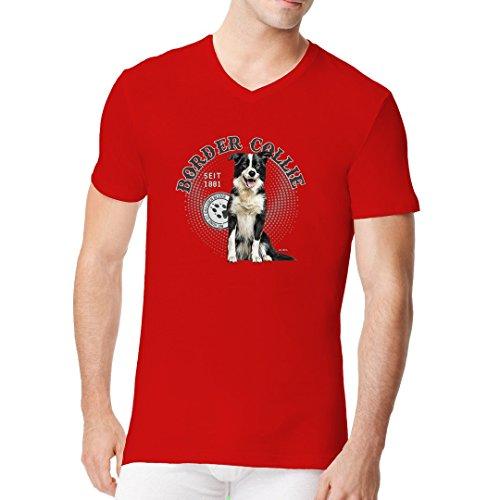 Männer V-Neck Shirt - Hunde Shirt Motiv: Border Collie by Im-Shirt Rot