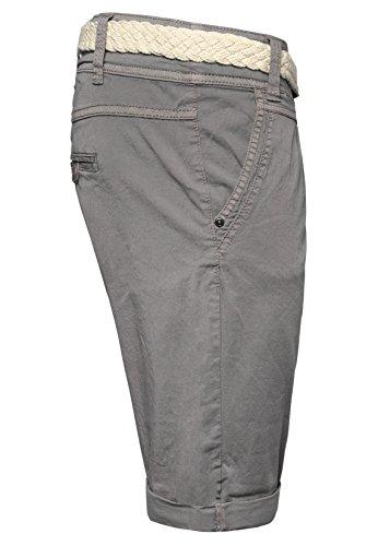 Fresh Made Bermuda femme couleur pastel avec ceinture tressée | Pantalon court élégant de style chino Gris