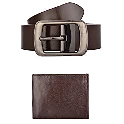 Exotique Mens Brown Formal Belt & Wallet Combo (EC0042BR-XXL)
