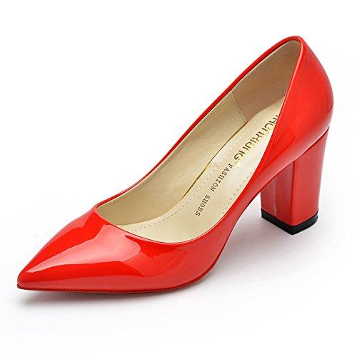 Bombas Dedo Sapatos Apontado Calcanhar Bloco Vermelho Escritório Senhoras Elegantes Confortavelmente Lazer Antiderrapante Couro Ol rxPTrgIq