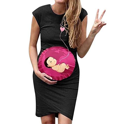 Vestidos Premama Verano SHOBDW Moda 2019 Vestidos Mujer Verano Impresión de Dibujos Animados Pijamas Mujer Tallas Grandes Ropa Premamá Cómoda Vestido de Maternidad de Fiesta(Azul,S)