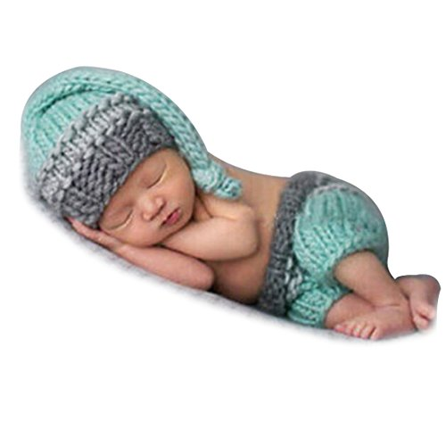 iEFiEL Neugeborenes Baby Jungen Kleidung Handarbeit Häkel Kostüm Baby Outfit Kostüm Fotoshooting (Hell Blau)