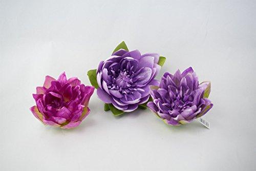 3er Set künstliche Lotusblüten in flieder und pink