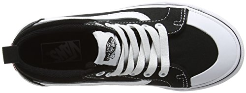 Vans Uy Racer Mid, Sneakers Hautes Garçon Noir (Canvas Black/true White)