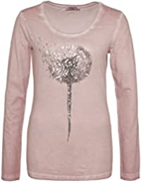 SUBLEVEL Damen Longsleeve mit Pailletten-Blume   Elegantes Langarm-Shirt in Grau & Rosé