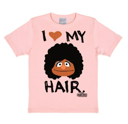 Logoshirt Sesamstrasse - Segi - I Love My Hair T-Shirt Kinder Mädchen - rosa - Lizenziertes Originaldesign, Größe 140/152, 10-12 ()