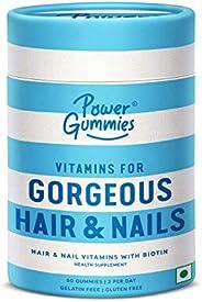 Power Gummies Hair & Nail Vitamins with Biotin & 10 Essential Vitamins - 60 (blue) for Men & Women