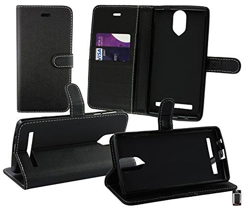 Emartbuy® Wileyfox Storm 4G Dual Sim Brieftaschen Etui Hülle Case Cover aus PU Leder Schwarz mit Kreditkartenfächern