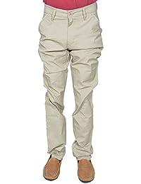 Leo Men's Cream Slim Fit Stretchable Trouser (T2)