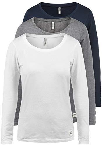 DESIRES Lavinia Damen Longsleeve Langarm Shirt Mit Rundhalsausschnitt 3er Pack, Größe:S, Farbe:3er-Box-1