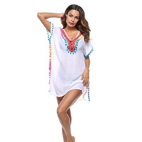LHWY Bikini Bluse Damen, Frauen Troddel Badeanzug Bikini Stilvolle Strand Cover Sonnencreme Shirt Bikini Smock Retro Pullover Mini Kleid (One Size, Weiß) (Midi-bikini-badeanzug)