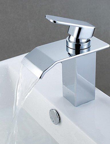 dahuuyus Modern Style Elegant und praktisch Home Küche und Bad Armaturen Wasserfall Waschbecken Wasserhahn Moderne Chrom Messing Centerset (Centerset Mixer Basin)