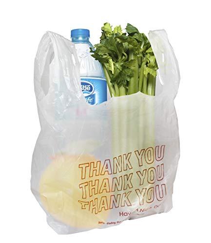 Amiff T-Shirtbeutel 18x8x28 Plastiktüten 18x8x28 T-Shirt-Taschen, 0,65 mm dick. Poly Merchandise Bags Großhandel Einzelhandel Einkaufstaschen 50er Pack Lebensmittelbeutel, Weiß